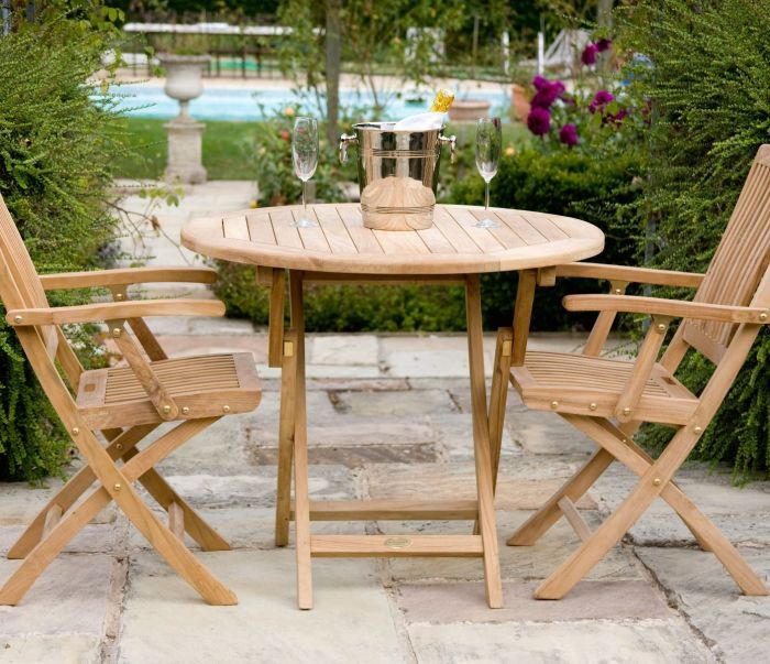 Teak Bristol Round Folding Table 90 cm