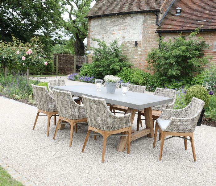 Roma Concrete Table and Chelsea Armchair 8-Seater Set