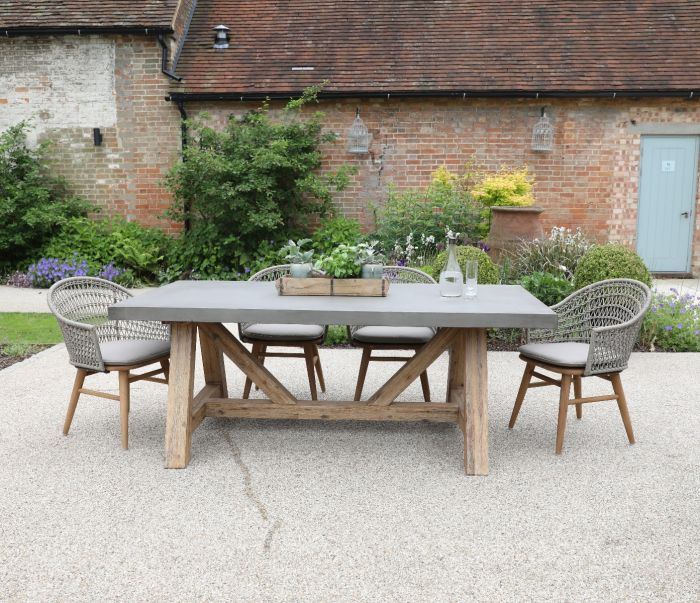 Roma Polished Concrete Outdoor Dining Table 240cm