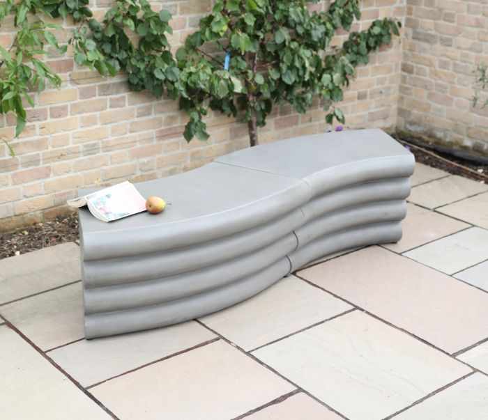 Mila Polished Concrete Two-Piece Bench