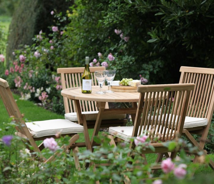 Bristol Outdoor Round Folding Table & 4 Chairs Set