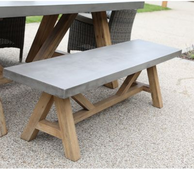 Roma Polished Concrete & Wood Bench 200cm