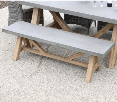 Roma Polished Concrete & Wood Bench 160 cm