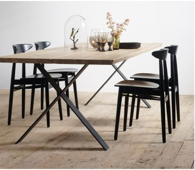 Albert Oak Rectangle Dining Table (X-Frame)