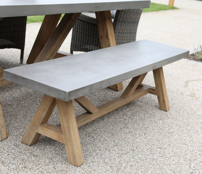 Roma Polished Concrete & Wood Bench