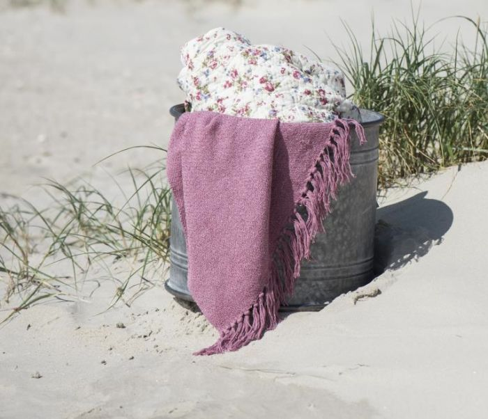 Cotton Throw - Raspberry