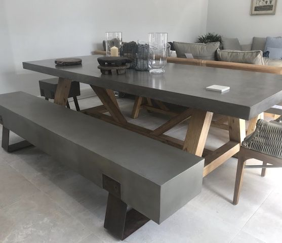 Mira Polished Concrete Bench 220cm