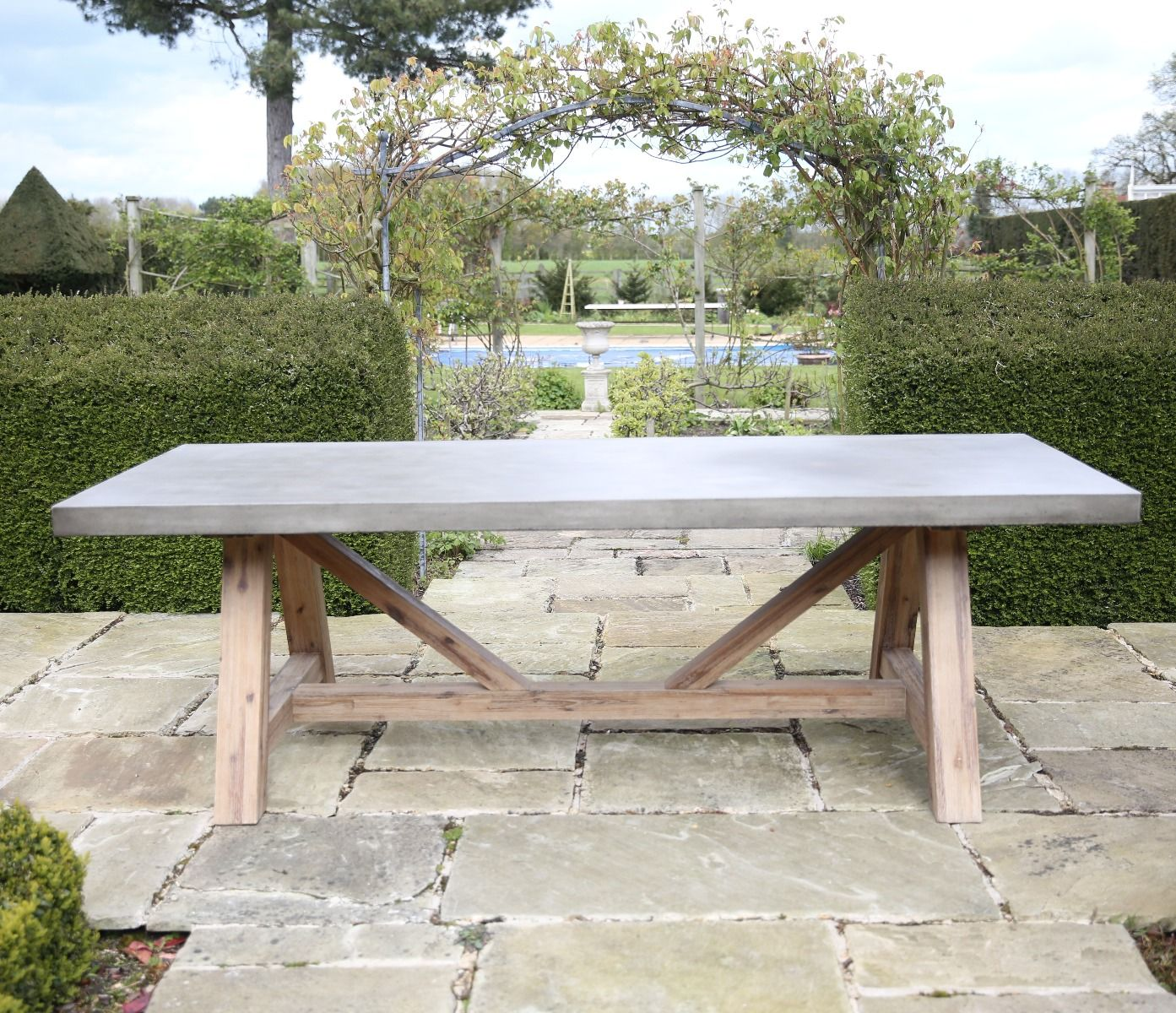 Roma polished concrete outdoor dining table 200cm 240cm