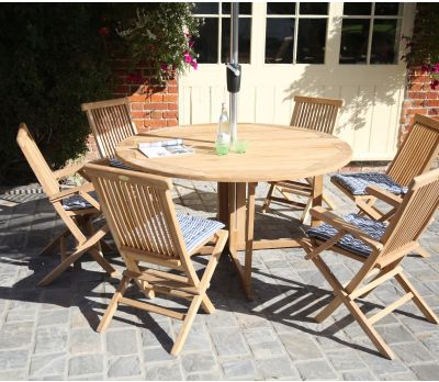 Gateleg Outdoor Round Folding Table & 6 Chairs Set