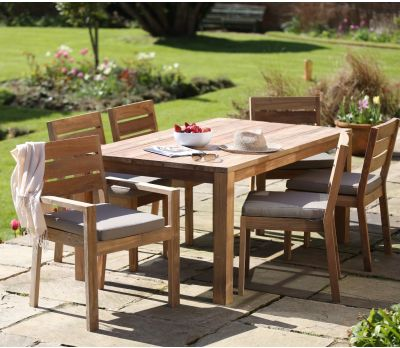 Tuscan Teak Wood Patio Dining Set - 6 Seater Table & Chairs