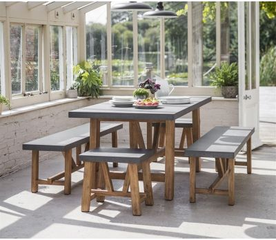 Garden Trading Chilson Cement Fibre Table & Bench Set