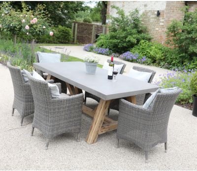 Roma Concrete Table and Florence Wicker Armchair 8-Seater Set