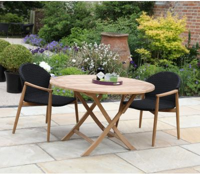 Teak Bristol Round Folding Table 120 cm