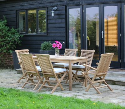 Henley Teak Table And Chairs 6-Seater Set - 140cm (Sussex)