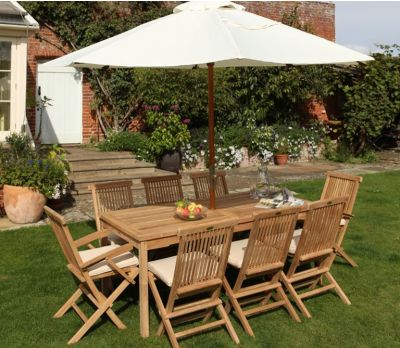 Henley Rectangle Wooden 8 Seater Garden Table & Chairs (Sussex)