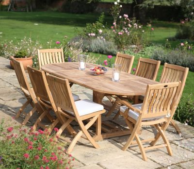 8 Seater Oval Extending Garden Table Set (Ashton)