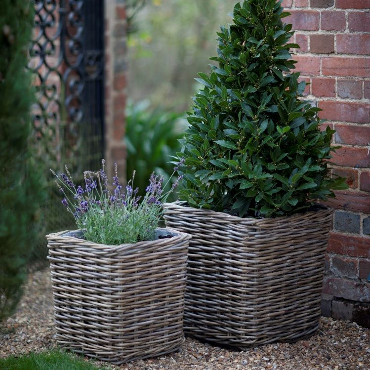 Set Of 2 Square Rattan Planters Garden Furniture Jo Alexander