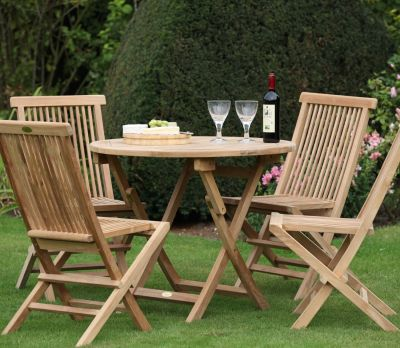 Bristol Round Folding 4-Seater Table Set