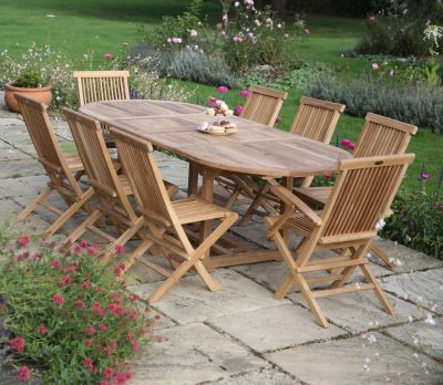Oval Double Extending 8-Seater Table Set (Sussex)