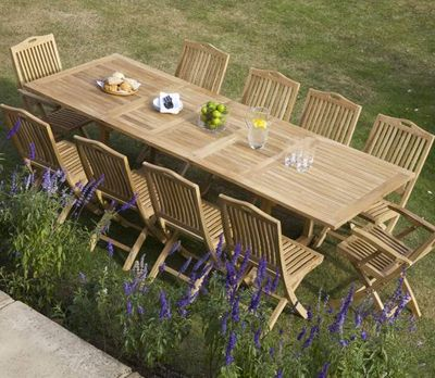 Rectangle Double Extending 10-Seater Table Set