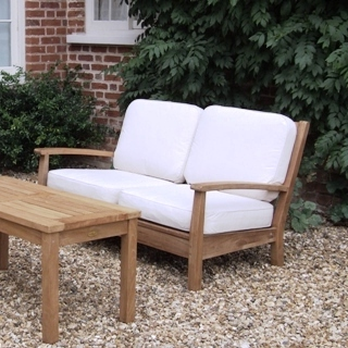 Teak wood garden outdoor patio sofa avignon deep seater for Cheap modern garden furniture uk